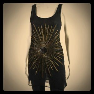 Haute Hippie Sequin Sunburst mini dress